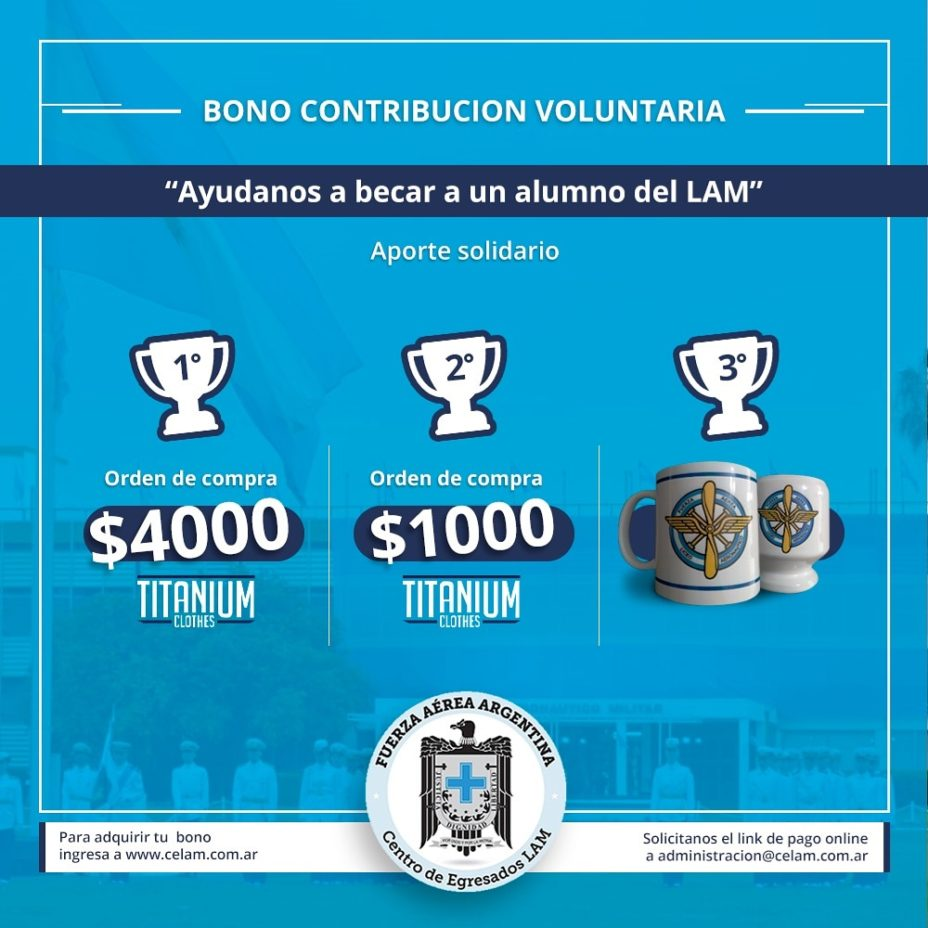 «Bono contribución voluntaria para BECA 2020 a cadete del LICEO».